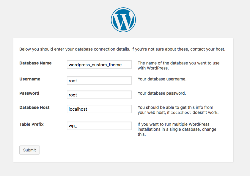 The Wordpress database setup screen